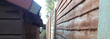 closeup of timber fencing